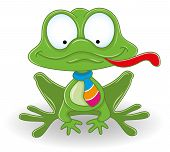 stock photo of cute frog  - Vector cute frog isolated on white background - JPG