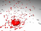 picture of broken heart  - broken heart divorcing concept with 3d heart illustration - JPG