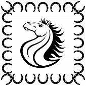 picture of paint horse  - A horse and a horseshoe painted on a white background - JPG