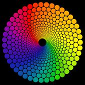 image of color wheel  - Color wheel or color circle isolated on black background - JPG