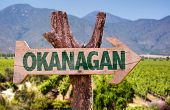 image of penticton  - Okanagan wooden sign with winery background - JPG