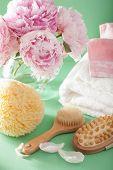 stock photo of bath sponge  - bath and spa with peony flowers brush sponge towels - JPG