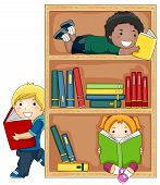 image of reading book  - A Small Group of Kids Reading Books - JPG