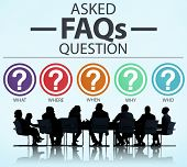 stock photo of faq  - Frequently Asked Questions FAQ Problems Concept - JPG