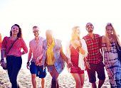 picture of bonding  - Diverse Beach Summer Friends Fun Bonding Concept - JPG