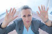 foto of trap  - Businesswoman feeling trapped in an office - JPG