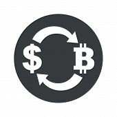 image of bitcoin  - Image of exchange between dollar and bitcoin in black circle - JPG