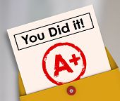 image of quiz  - You Did It words on a report card to illustrate a great grade - JPG