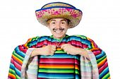 image of moustache  - Funny young mexican with false moustache isolated on white - JPG