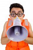 foto of vest  - Funny man wearing vest with loudspeaker - JPG