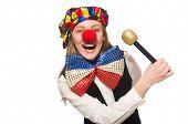 foto of maracas  - Pretty female clown with maracas isolated on white - JPG