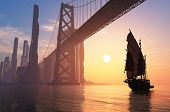 picture of old bridge  - Old ship under the bridge of a modern city - JPG