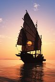 picture of old boat  - Old boat with sails on a colorful background lanshafty - JPG