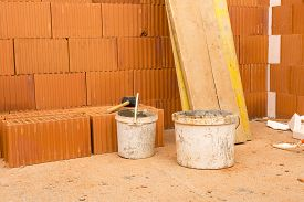 stock photo of malt  - Brick by Brick build a house on your own - JPG