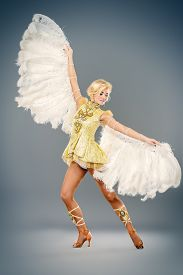 image of  dancer  - Attractive female dancer posing at studio in a beautiful costume with wings - JPG