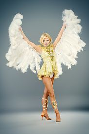 foto of  dancer  - Attractive female dancer posing at studio in a beautiful costume with wings - JPG
