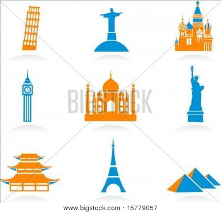 Icon set with famous international