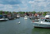 stock photo of u-boat  - View of a busy Annapolis harbor home of U - JPG