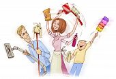 picture of spring-cleaning  - drawing illustration of family doing spring cleaning - JPG