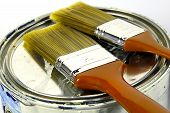 image of paint brush  - paint can and paint brushes - JPG