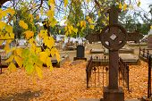 Historic Cemetery In Autumn poster