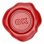 Confirmed. Wax seal with OK text