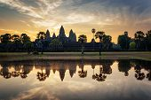 Angkor Wat Reflected In Lake At Dawn. Siem Reap, Cambodia poster