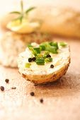 stock photo of green onion  - bread slice with butter and green onion - JPG