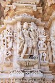 picture of mahabharata  - Detail of Jain architecture with white sculpture  - JPG