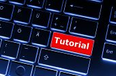 image of online education  - tutorial or e learning concept with key on computer keyboard - JPG