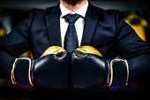 Businessman With Boxing Gloves Is Ready For Corporate Battle. poster