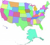 foto of the united states america  - vectorial image of the united states boundaries - JPG