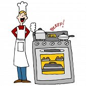 stock photo of beep  - An image of a chef next to an over cooking food with timer beeping - JPG