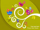 stock photo of pasqua  - Easter greeting card with tree branch - JPG
