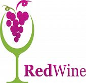 picture of wine-glass  - wine glass icon with grape - JPG