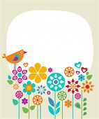 picture of easter card  - Easter card template with flowers and a bird - JPG