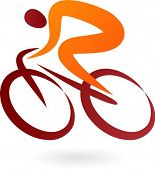 Постер, плакат: Оранжевый и коричневый велосипедист икона элегантный векторные иллюстрации