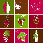 stock photo of red wine  - Collection of retro wine icons - JPG