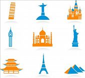 Icon set with famous international historical landmark monuments