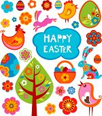 stock photo of easter card  - Easter card with many graphical elements - JPG
