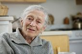 pic of elderly woman  - Portrait of a wise senior woman at home - JPG