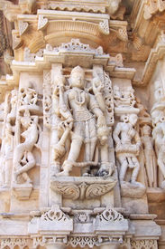 image of mahabharata  - Detail of Jain architecture with white sculpture  - JPG