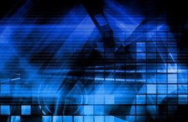 stock photo of computer technology  - Virtual Technology with Data Network Stream Art - JPG