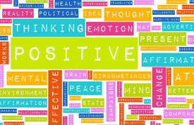 foto of think positive  - Thinking Positive as an Attitude Abstract Concept - JPG