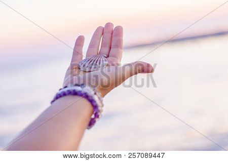 poster of Sea Shell On Hand Against The Background Of The Sea, Relaxation, Peace And Pleasant Mention Of The S