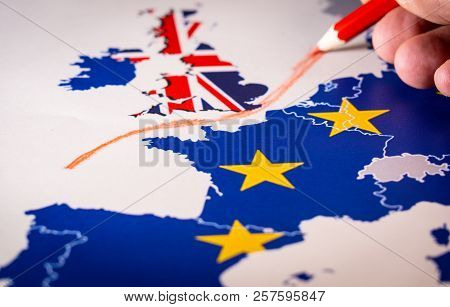 poster of Hand Drawing A Red Line Between The Uk And The Rest Of Eu, Brexit Concept.