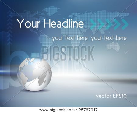 Vector business background light silver grey 3d globe and dotted vector business background light silver grey 3d globe and dotted world map with blue shiny gumiabroncs Image collections