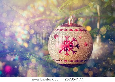 poster of Christmas celebration holiday background - christmas-tree decoration bauble on decorated Christmas t