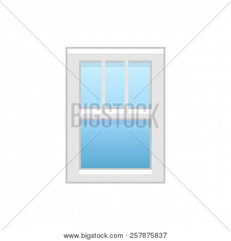 poster of Vector Illustration Of Vinyl Single-hung Window. Flat Icon Of Traditional Aluminum Sash Window With