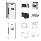 Home Appliances And Equipment Outline, Monochrome Icons In Set Collection For Design.modern Househol poster